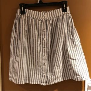 Striped White and Grey Skirt
